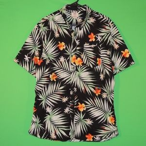 VANS Mens XL Floral Hawaiian Short Slv Shirt